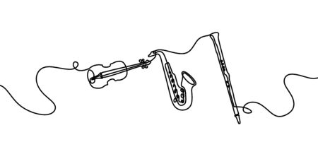 Jazz music instrument. One line drawing of saxophone, violin, and clarinet. Minimalism style vector illustration, simplicity design. 일러스트