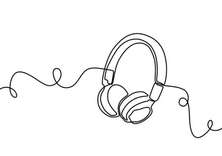 Headphone one line drawing. Vector illustration symbol of music and sound.