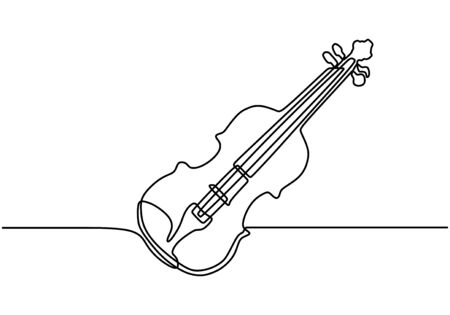 Continuous one line drawing. Violin music instrument. Vector illustration simplicity design.
