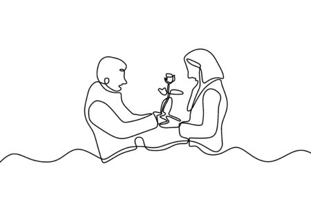 One line couple in love. Drawing of man giving a flower gift to woman. Romantic continuous hand drawn sketch people. Minimalist and simplicity design. Contour lineart minimalism.
