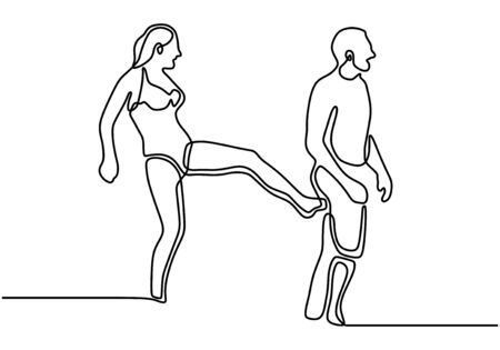 Girl kick a man ass. One line drawing minimalism vector illustration. Funny expression of couple people.