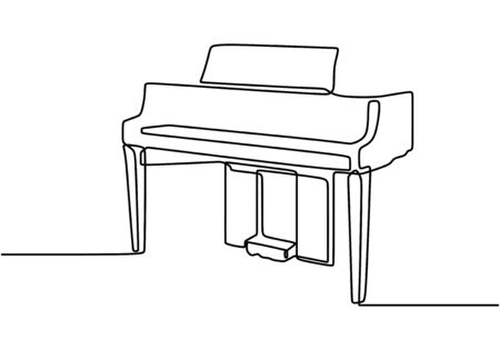 One line drawing of piano. Vector illustration musical instrument. Continuous single hand drawn minimalism.  イラスト・ベクター素材