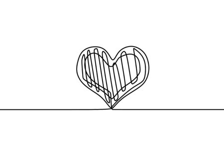 Heart one line drawing. Scribble hand drawn continuous love sign. Romance symbol minimalism concept, vector illustration isolated on white background.