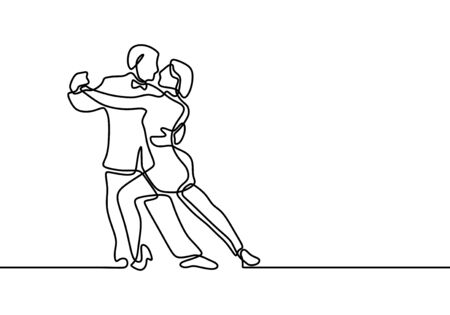 Dancing couple one line drawing. Vector man and woman in love doing dance. Minimalism art hand drawn continuous single lineart.