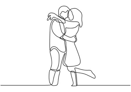 One line couple in love. Romantic continuous hand drawn sketch people. Minimalist and simplicity design. Contour lineart minimalism.