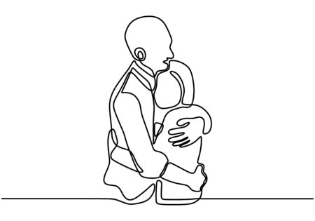 One line drawing, couple embrace. Lovers concept, vector illustration. Man and woman in love, and share their intimacy.