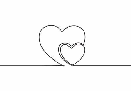 Continuous line drawing two hearts embracing, Romantic invitation, vector minimalist illustration of love concept minimalism. One hand drawn sketch romance symbol theme.
