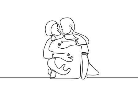 One line couple in love. Romantic continuous hand drawn sketch people. Minimalist and simplicity design. Contour lineart minimalism. Two persons hug.