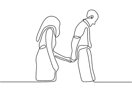 One line drawing couple holding hands. Romantic theme design, vector illustration. Man and woman in love.