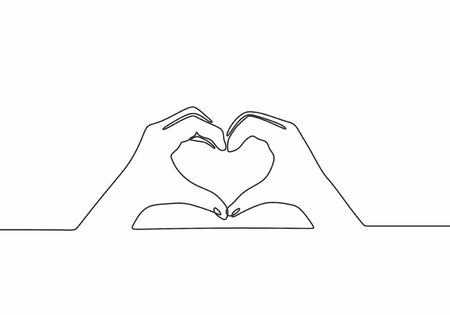 Continuous one line drawing. Heart love sign. Hands and fingers making romantic symbol.
