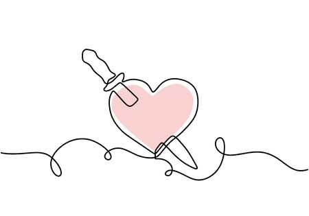 Continuous one line drawing. Heart with sword, minimalism concept vector illustration.