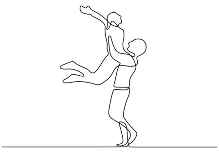 One line couple in love. Man and girl jump in romance. Romantic continuous hand drawn sketch people. Minimalist and simplicity design. Contour lineart minimalism.