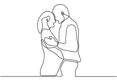 One line couple in love. Continuous drawing of man and woman with romantic pose. Ilustração