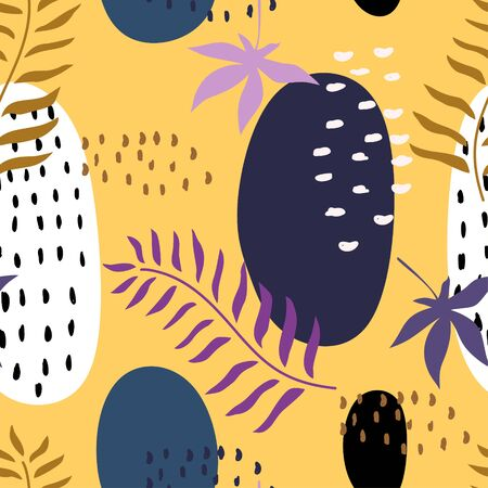 Abstract floral seamless pattern. Modern memphis botanical garden, vector illustration ready for print. Trendy contemporary art for bandana, hijab, background, ready for textile print and wrapping. Illustration