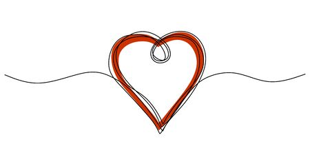 Continuous one line drawing of heart. Symbol of love scribble hand drawn minimalism, artistic lineart with pencil texture. 벡터 (일러스트)