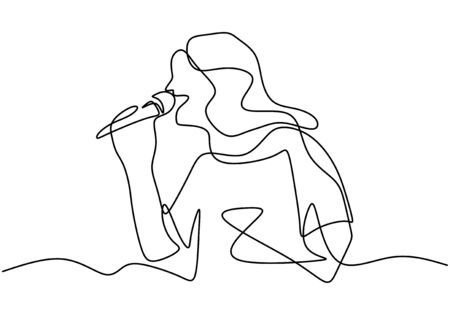 A girl singing lovely song. Enjoy and relax with her song. Se is very love music. She want to be a singer. One line continuous. Vector illustration.