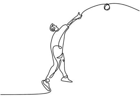 Continuous line drawing of athlete shot disc throwing sports, minimalism concept vector illustration. Vecteurs