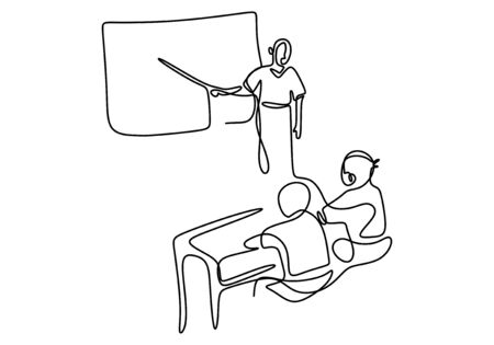 Single continuous line drawing of teacher explain something and giving education to student with blank board. Vector illustration