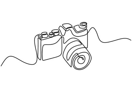 DSLR camera digital vector, one continuous single line drawing. Continuous one line drawing of professional photo camera vector illustration. Digital single-lens reflex camera linear style.