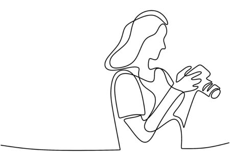 A girl taking photo with her camera. She is photographer. She like taking every moment with her camera. One line continuous. Vector illustration Vetores