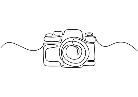 One line drawing of camera linear style. Black image isolated on white background. Hand drawn minimalism style vector illustration Stock Vector - 143883867