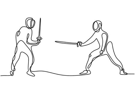 One continuous line drawing of two young men fencing athlete practice fighting action on sport arena. Competition and fighting sport concept Illustration
