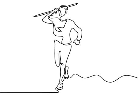 Continuous line drawing of javelin athlete. Young sporty man exercise to run stance before throw javelin on the field. Athletic games. Sport concept. Vector illustration minimalism style.