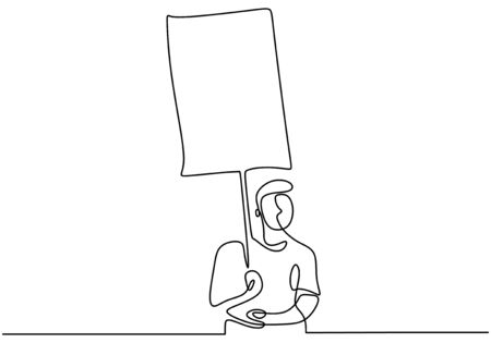 Continuous one line drawing man holding blank signboard. illustration concept