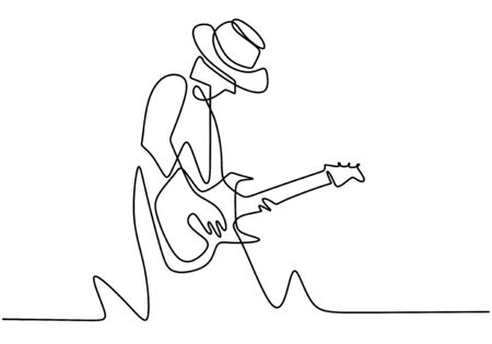 Continuous one line drawing of a man with acoustic guitar playing good sound. Perform to entertain the audience. Enjoy with music. Performer concept continuous one line drawing. Vector illustration