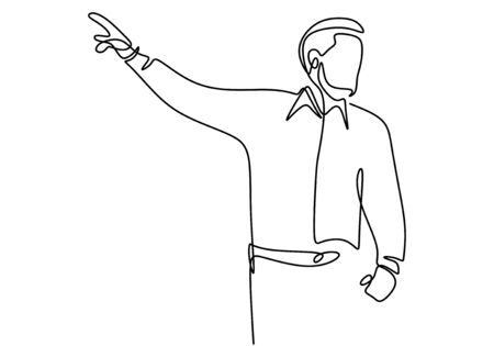 Continuous single drawn one line of person presentation standing to teaching, coaching, and presenting. People writing on the board to explain something. Flat line vector illustration