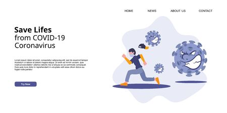 Coronavirus COVID-19 landing page campaign. A man running from virus attack. Save lifes concept, flat vector illustration.