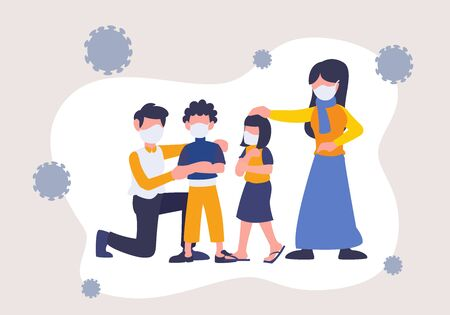 Novel Coronavirus 2019-nCoV with family wearing mask. Keep safe from disease and epidemic crisis. Flat digital vector illustration of father, mother, and kids. Take care of virus alert.
