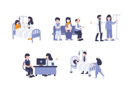 Hospital doctor with patient, flat vector illustration. People sick make a consultation to doctors, medical treatment, hospitalization, nurse service, and consultation therapy. Elements for web.