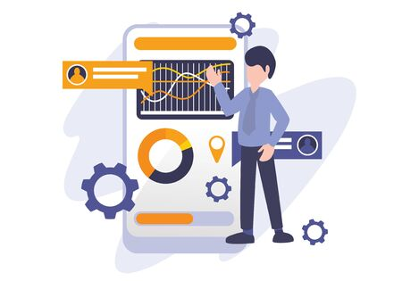 Chart diagram and data analysis concept, vector illustration business metaphor. A man presenting chart report. Digital internet technology. Elements for banner, ui, web, landing page, and poster. Vettoriali