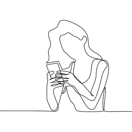 Niña jugando y usando el dibujo de línea continua del teléfono inteligente. Un lineart de vector de concepto de comunicación de mujeres con ilustración de diseño de minimalismo de tecnología de gadget móvil.