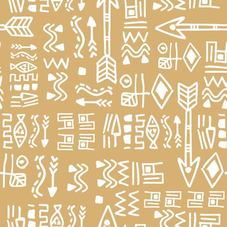 Yellow colors pattern with seamless hand drawn tribal ethnic background for fashion textile print vector illustration