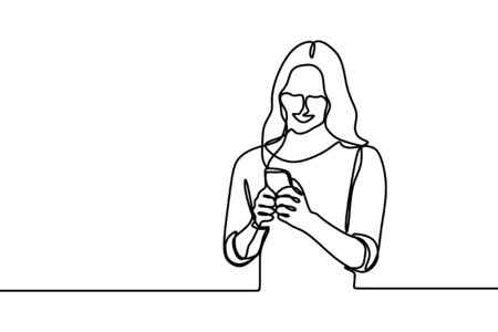 Women using mobile phone continuous line drawing