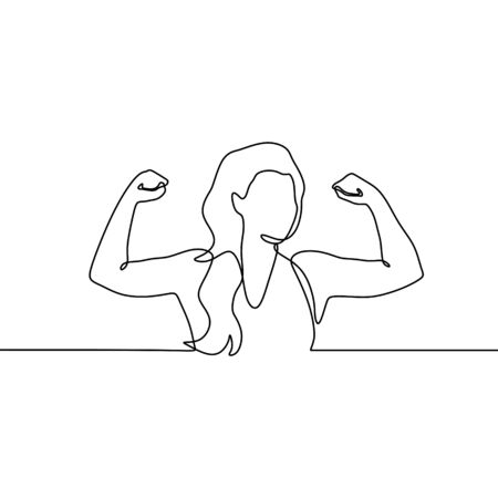 Strong girl continuous one line drawing