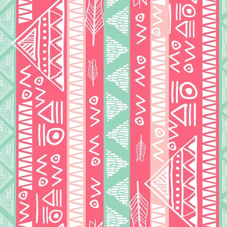 Colorful native maya ancient seamless stripes pattern vector illustration for women fashion textile print 向量圖像