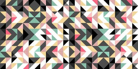 Triangle colorful pattern background for fashion textile print. Good for pillow, carpet, and blanket cover wrapping with trendy colors.