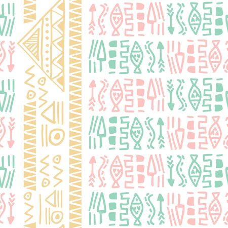 Bright pastel bohemian chic seamless pattern with tribal ethnic symbol