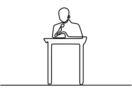 Continuous line drawing of vector a speaker in front of an audience. Standing confident and calm. Speech his ideas and giving motivation. Hand drawn style vector doodle design illustrations.
