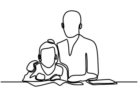 Father and daughter one line drawing, continuous hand drawn minimalism. Fathers day concept banner with contour line art minimalist design, vector illustration with simplicity style.