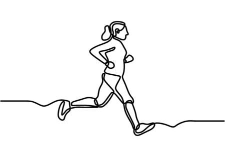 Continuous one drawn line silhouette of running athlete. Girl doing exercise and jogging. Vetores