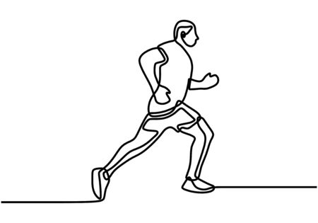 One single line drawing of young energetic woman runner run relax vector illustration. Young people running at road in the morning. Healthy sport training concept. Vector illustration