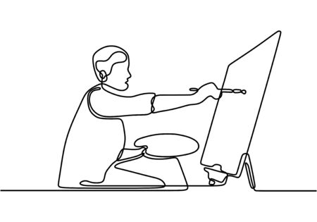 One line drawing of painter artist. A man standing painting an artwork on canvas. Man holding paint brush. Meaningful abstract paintings. Continuous hand drawn minimalism.