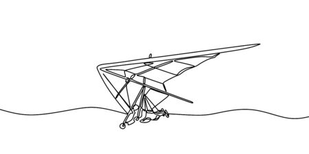 Hang gliding one line drawing, an air sport or recreational activity in which a pilot flies a light. Minimalist contour hand drawn extreme sports flying on the sky.