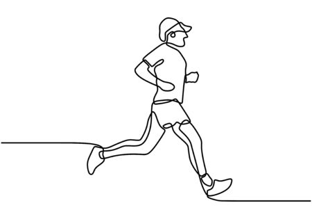 One single line drawing of young energetic people run relax or jogging at morning. Wearing sportswear runs along the road. Healthy sport training concept. Vector illustration