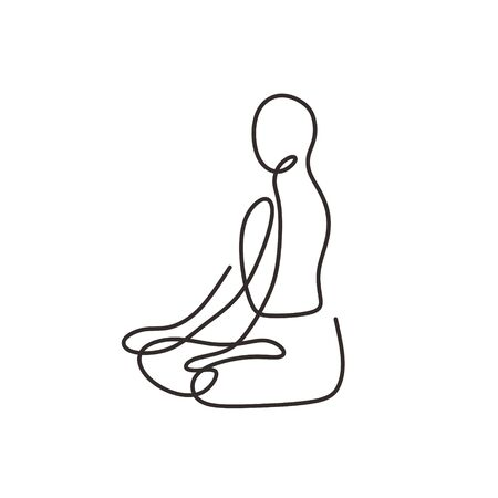 Abstract yoga line drawing. One continuous and single hand drawn minimalism, vector illustration person doing spiritual wellness, icon logo template with simplicity style.