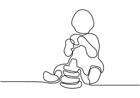 Continuous single drawn one line baby eating biscuits. The child eats his own. Baby holds food with his hands. Happy eating baby. Vector illustration Vektorgrafik
